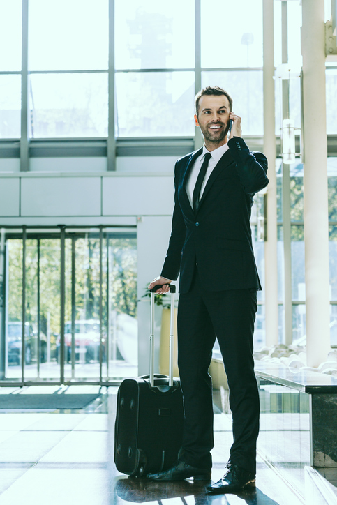 Businessman on business travel in hotel